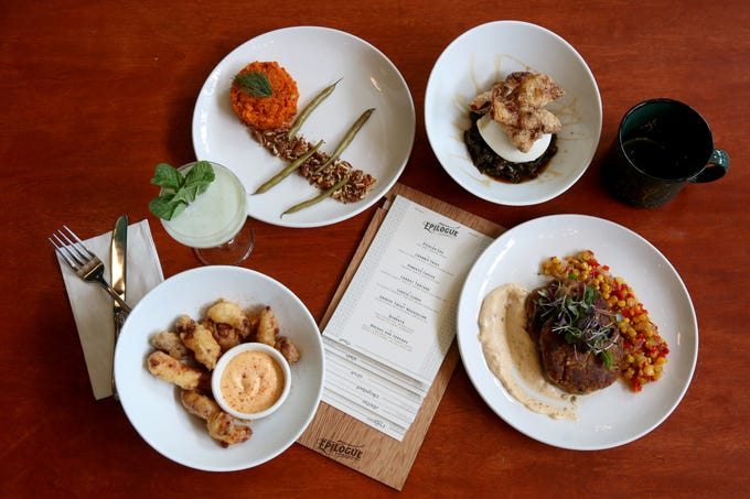 Offerings from Epilogue Kitchen & Cocktails, clockwise from top left, carrot tartare, a burrata small plate, crab cakes, cheese curds and the Rumspringa cocktail in Salem on March 20, 2019. The restaurant opens in downtown Salem on Friday.