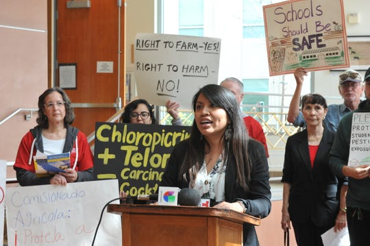 Sarait Martinez, an organizer for Safe Ag Safe Schools coalition, speaks at a March 20, 2019 press conference at the Monterey County Government Center on the findings in a UCLA report on the role of county agricultural commissioners in reducing toxic exposure.