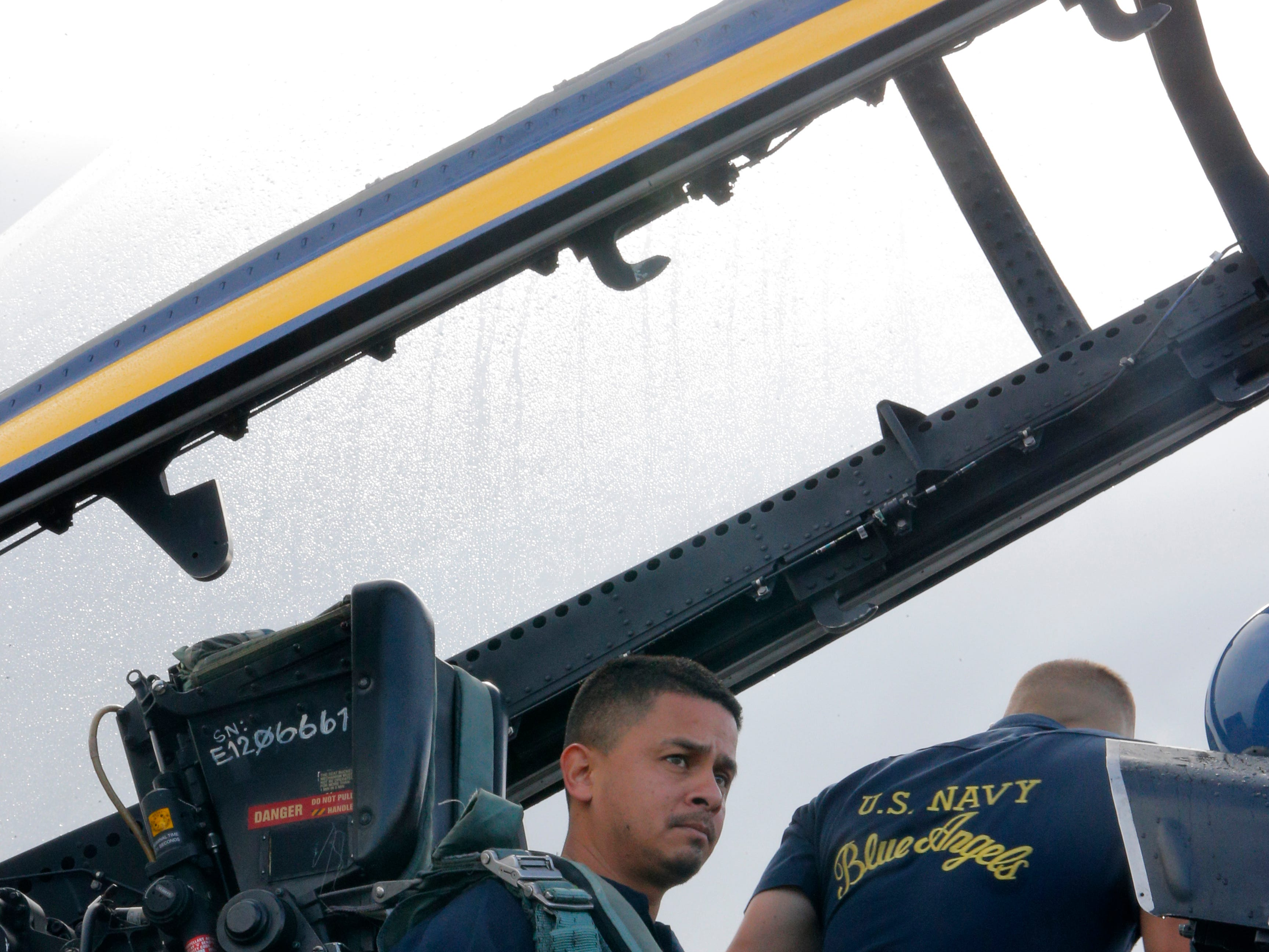 Salinas police officer Daniel Garcia sits in a Blue Angels F/A 18 Hornet awaiting his ride with the Blue Angels March 20, 2019, in anticipation of the California International Airshow Salinas