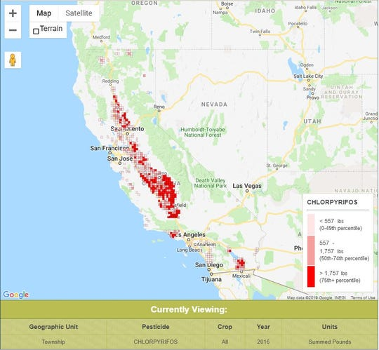 The California Environmental Health Tracking Program and California Department of Public Health's mapping of California's chlorpyrifos usage in 2016 using data from the California Department of Pesticide Regulation. View more here: www.cehtp.org/pesticidetool.