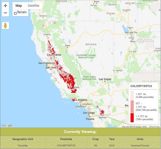 El Programa de Seguimiento de la Salud Ambiental de California y el mapeo del Departamento de Salud Pública de California sobre el uso del clorpirifós en California en 2016, que utiliza datos del Departamento de Regulación de Pesticidas de California. Consulte más detalles aquí: www.cehtp.org/pesticidetool.
