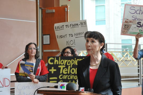 Ann López, director of the Center for Farmworker Families in Santa Cruz County, speaks at a March 20, 2019 press conference at the Monterey County Government Center on the findings in a UCLA report on the role of county agricultural commissioners in reducing toxic exposure.