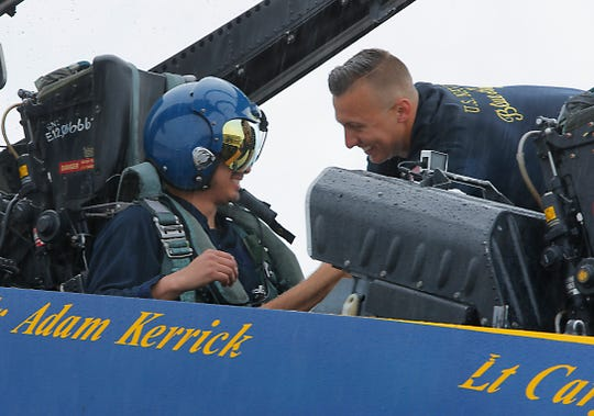 Salinas police officer Daniel Garcia smiles after his March 20, 2019, ride with one of the Blue Angels, who will perform at the California International Airshow Salinas.