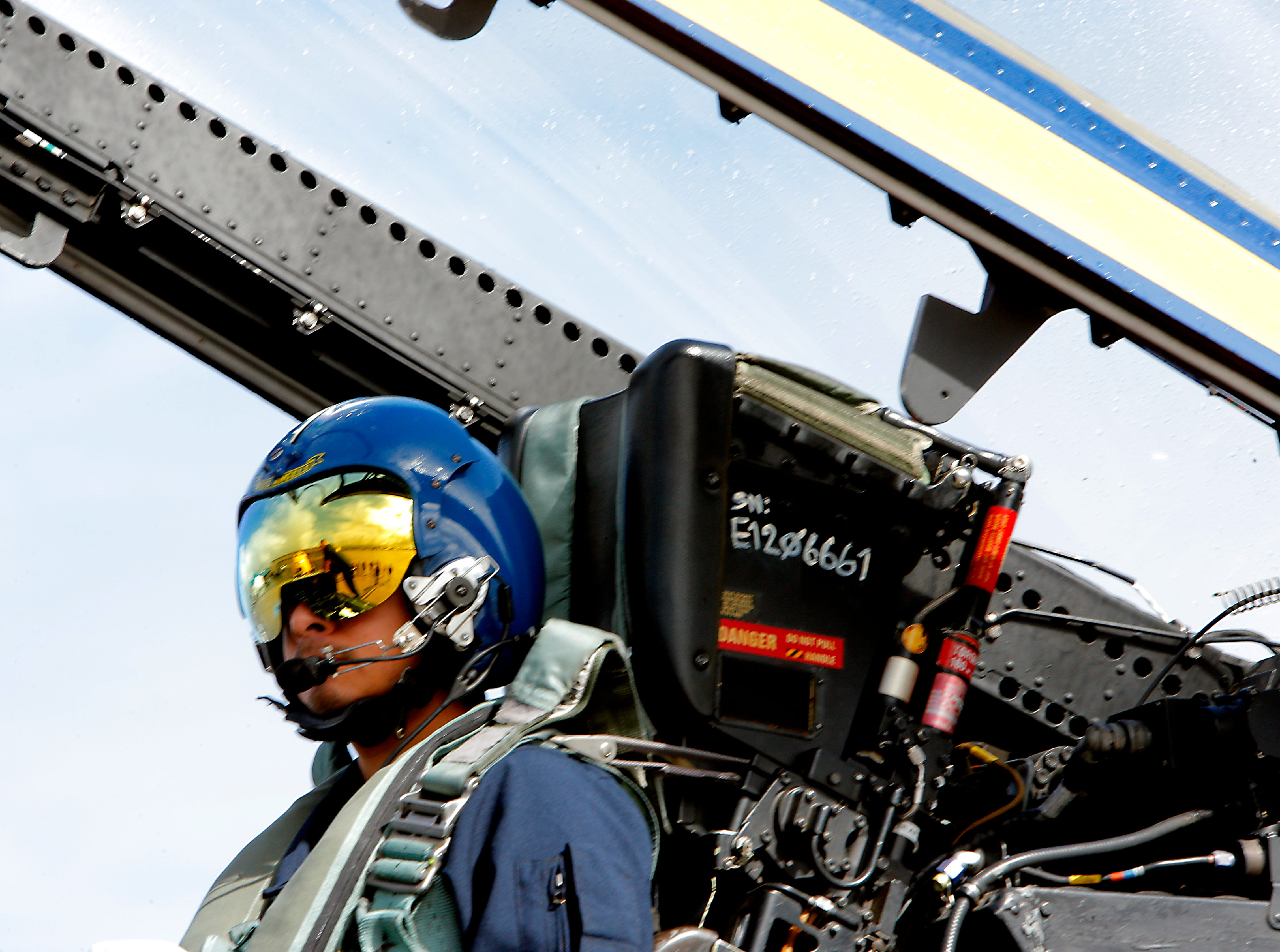 Salinas police officer Daniel Garcia awaits his ride in a Blue Angels jet March 20, 2019. The Blue Angels will be performing in the California International Airshow Salinas.