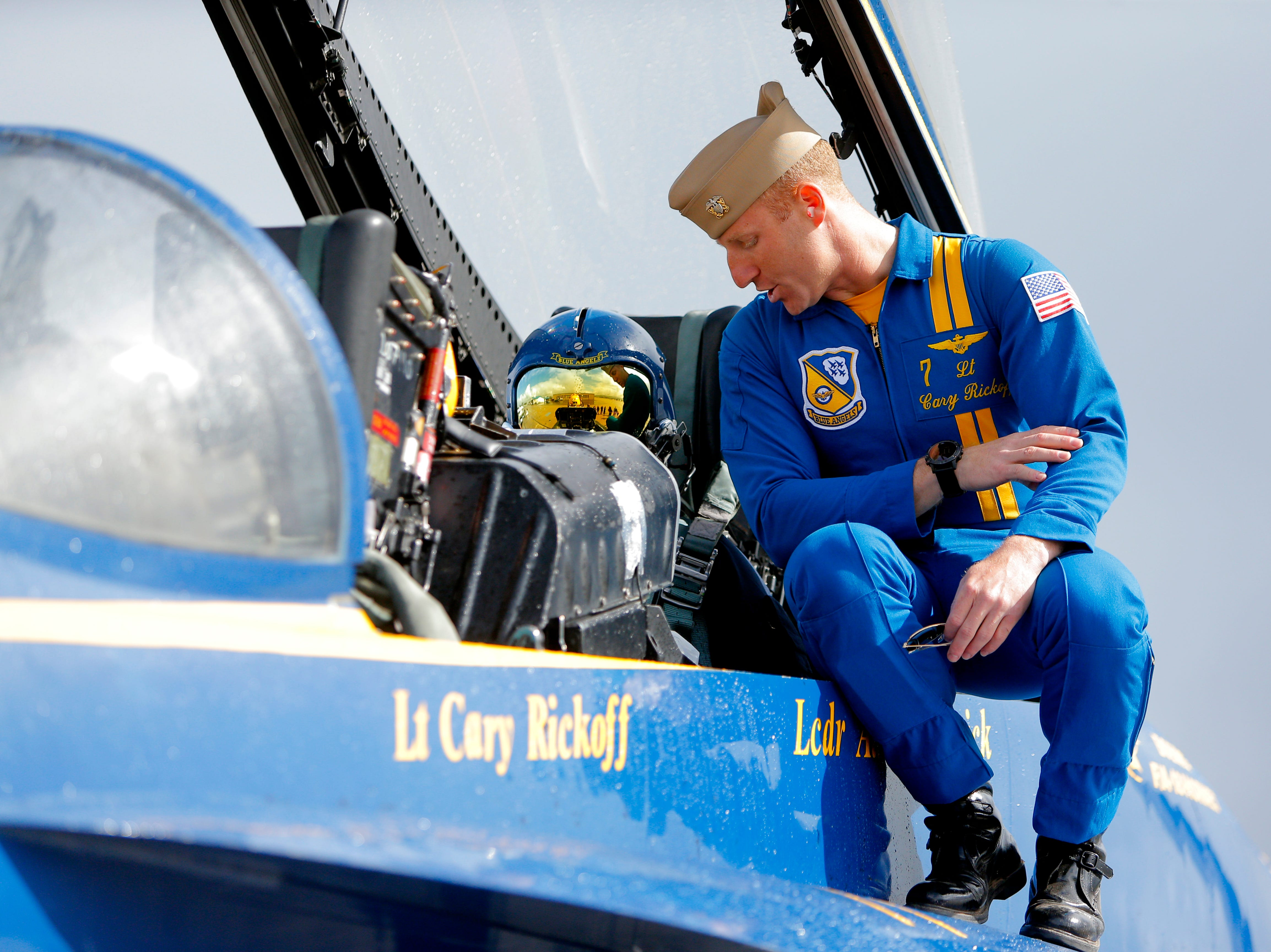 Lt. Cary Rickoff gives instructions to Salinas police officer Daniel Garcia their flight in a Blue Angels jet March 20, 2019, before the California International Airshow Salinas.