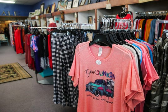 Clothing and accessories are displayed at Frizzled Feathers Boutique, 2006 W. Beauregard Ave.
