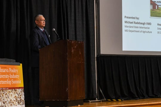 Nathaniel Tablante, associate professor at the University of Maryland, leads the discussion at the Delmarva Poultry University-Industry Partnership Summit in Salisbury on Wednesday, March 13, 2019.