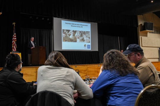 Michael Radebaugh, Maryland state veterinarian, speaks about the Wicomico bird flu scare at the Delmarva Poultry University-Industry Partnership Summit in Salisbury on Wednesday, March 13, 2019.