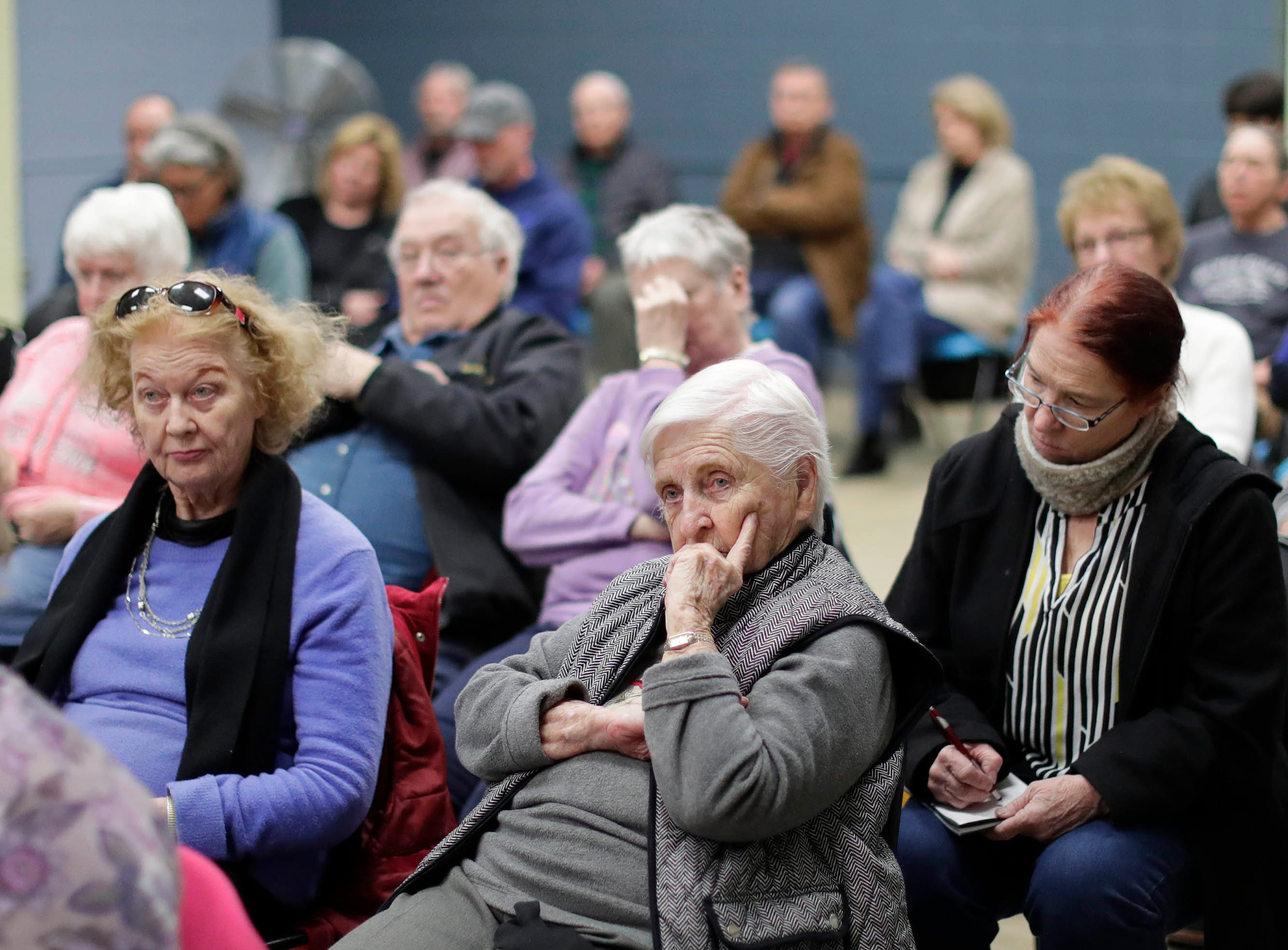 The meeting room at the Sheboygan Senior Activity Center was filled with people interested in the Sheboygan Armory's fate, Tuesday, March 19, 2019, in Sheboygan, Wis.