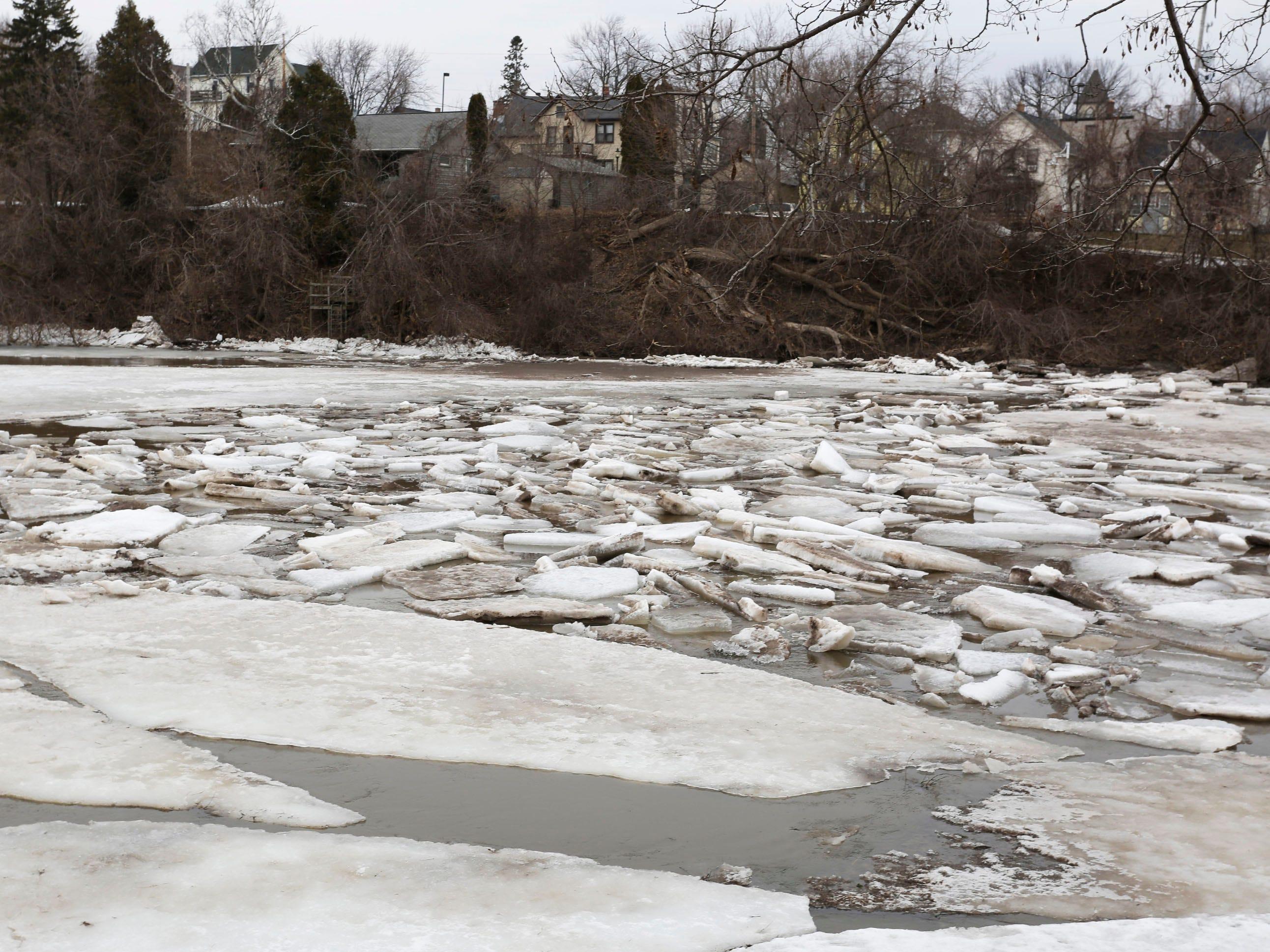 Ice jams on the Sheboygan River at Kiwanis Park, Wednesday, March 20, 2019, in Sheboygan, Wis.