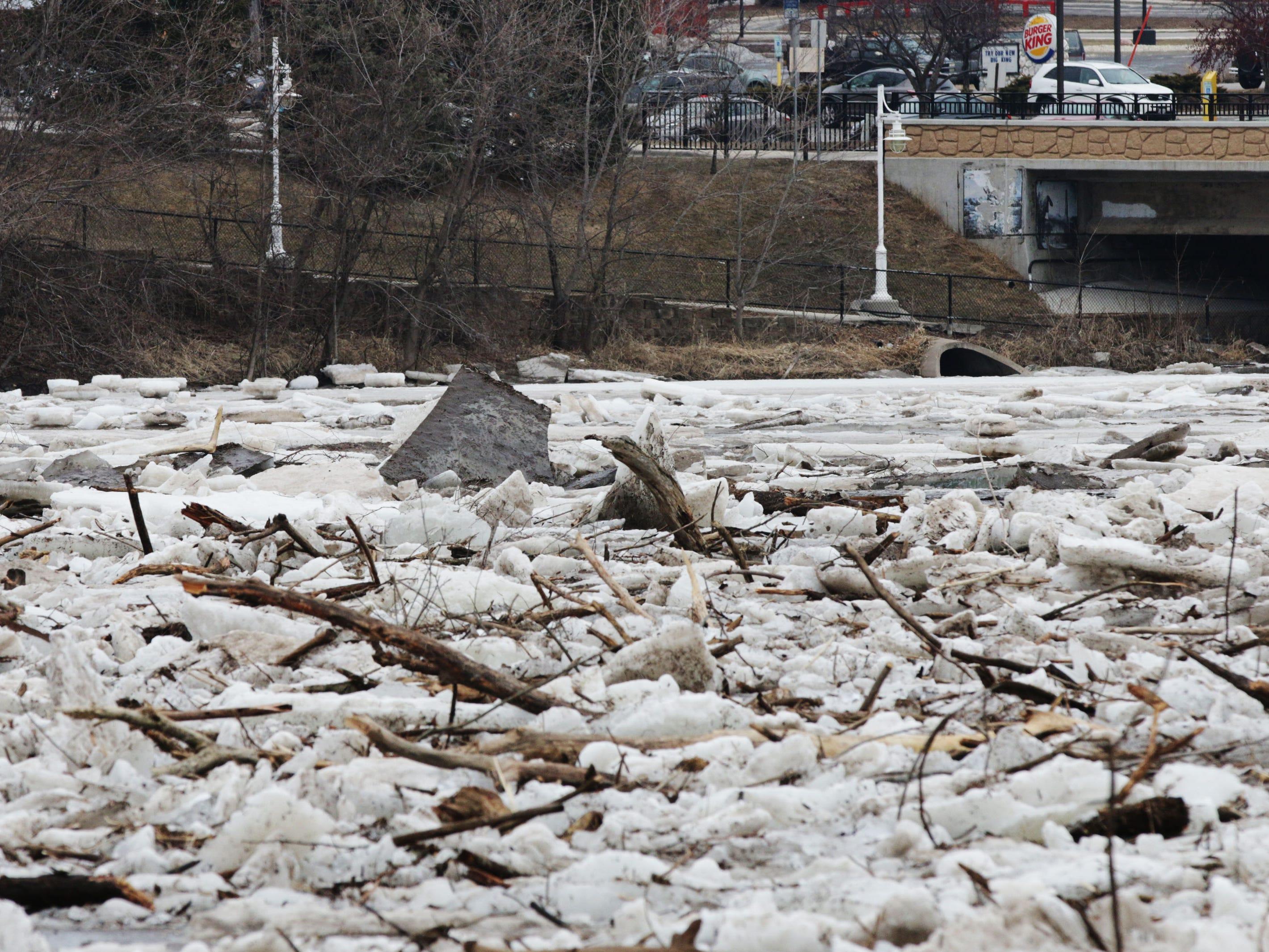Ice jams on the Sheboygan River near 14th Street, Wednesday, March 20, 2019, in Sheboygan, Wis.