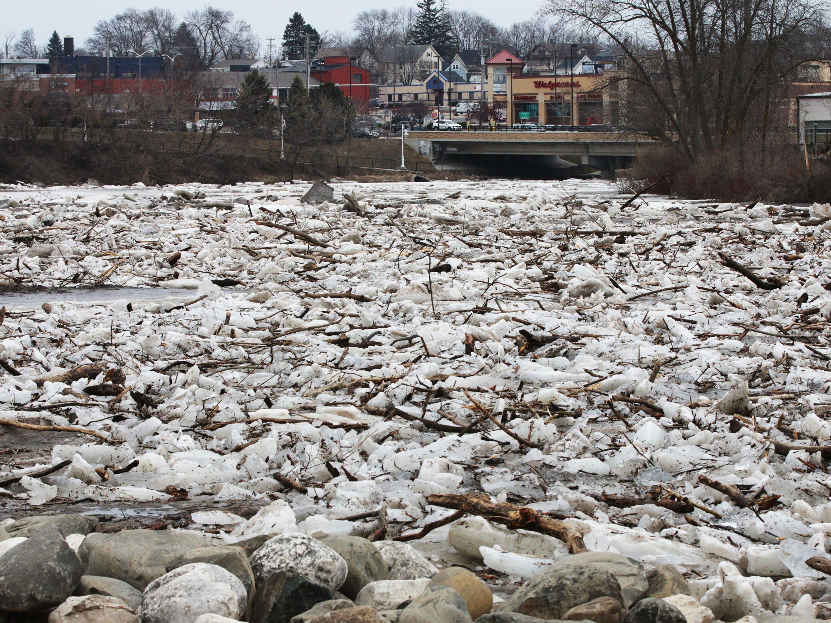 Ice jams on the Sheboygan River at Kiwanis Park looking towards 14th Street, Wednesday, March 20, 2019, in Sheboygan, Wis.