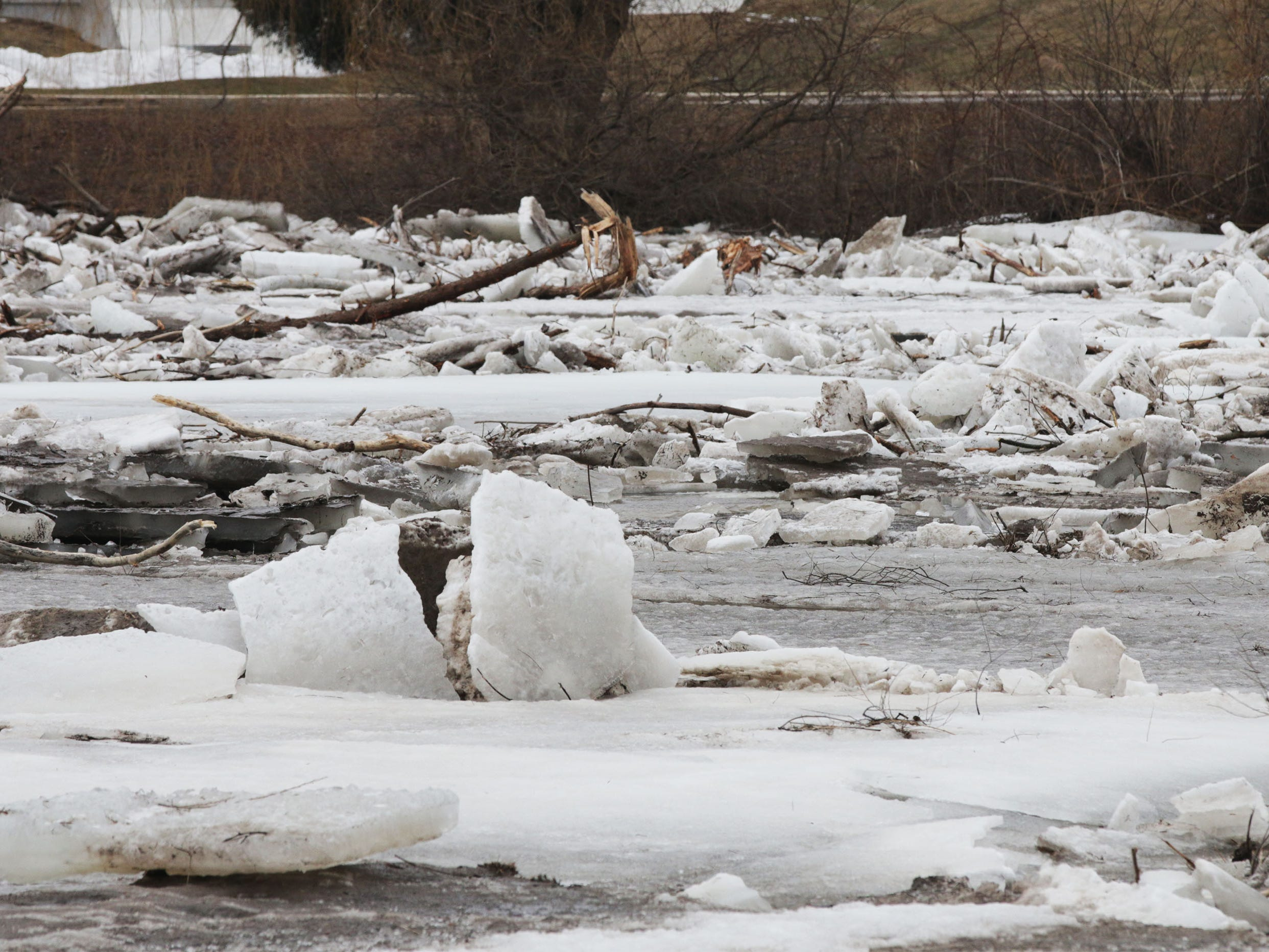 Tree limbs and slabs of ice jam at Kiwanis Park on the Sheboygan River, Wednesday, March 20, 2019, in Sheboygan, Wis.