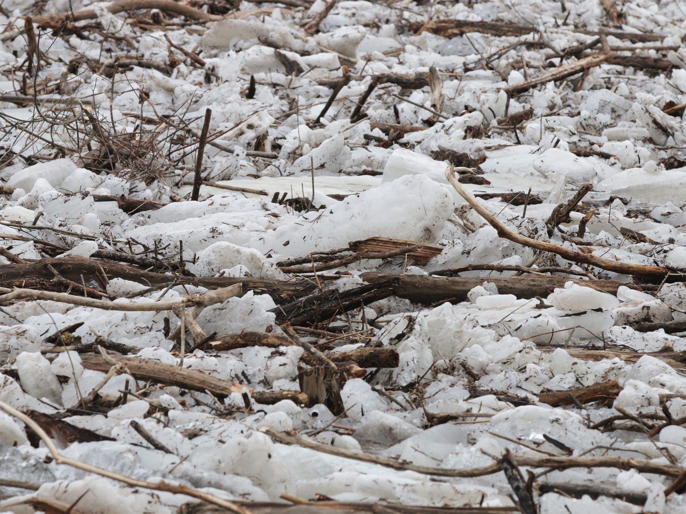 Logs, branches and ice jam on the Sheboygan River near Kiwanis Park, Wednesday, March 20, 2019, in Sheboygan, Wis.