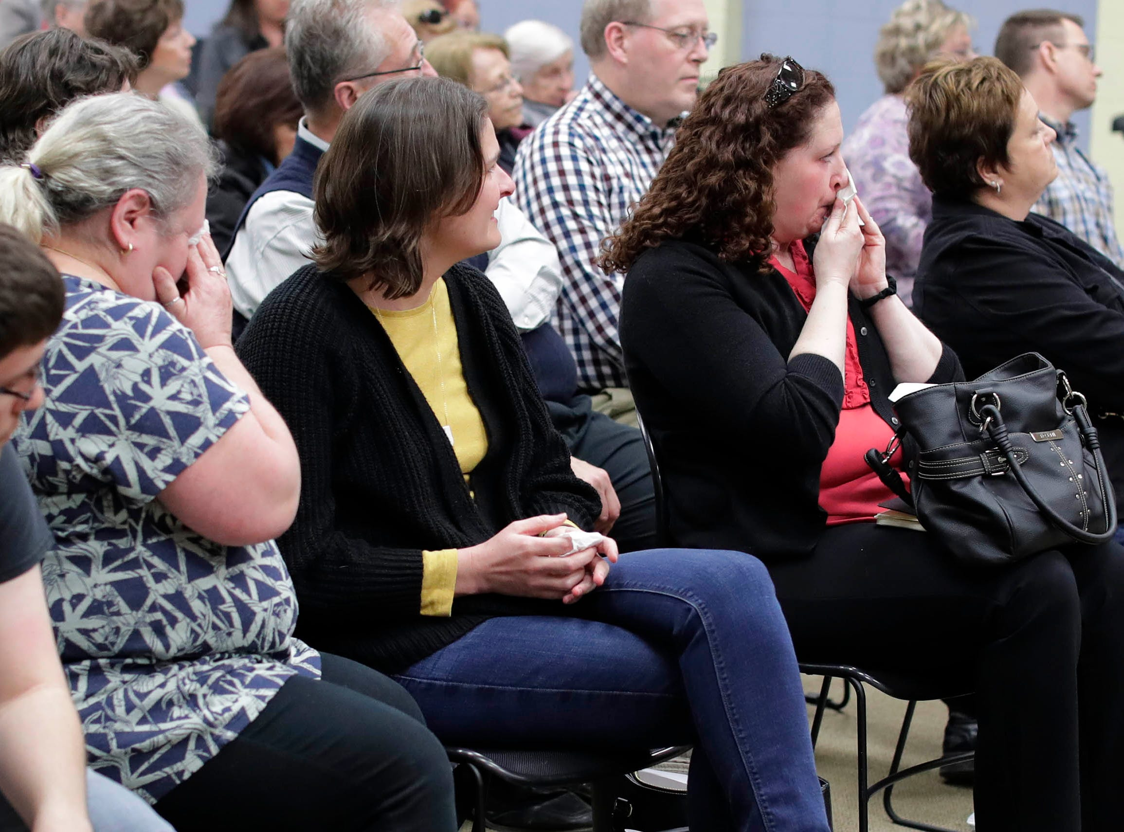 Emotions ran high during a meeting at the Senior Activity Center at a meeting that discussed the Sheboygan Armory's fate, Tuesday, March 19, 2019, in Sheboygan, Wis.