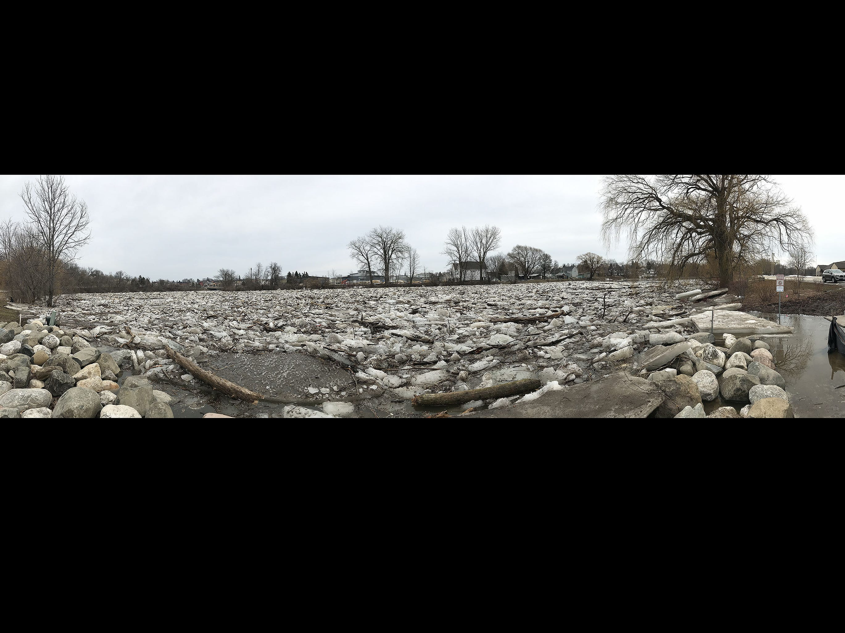 Ice jams on the Sheboygan River at Kiwanis Park in a panoramic image, Wednesday, March 20, 2019, in Sheboygan, Wis.