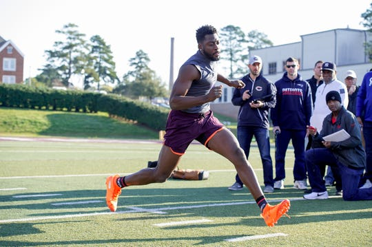 Former Northwestern State receiver Jazz Ferguson goes through drills at NSU's Pro Day in front of several NFL scouts on Wednesday in Natchitoches.