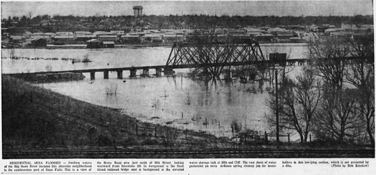 A photo of flooding from the Big Sioux River was printed in the Argus Leader on April 12, 1969. About 2,500 people were left homeless in southeastern South Dakota after the flood.