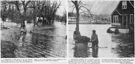 Water rescues began to increase in the Sioux Falls area on April 7, 1969 because of the rising flood waters. The Leif Erikson campground was flooded and more than 70,000 sandbags were prepared by April 7.