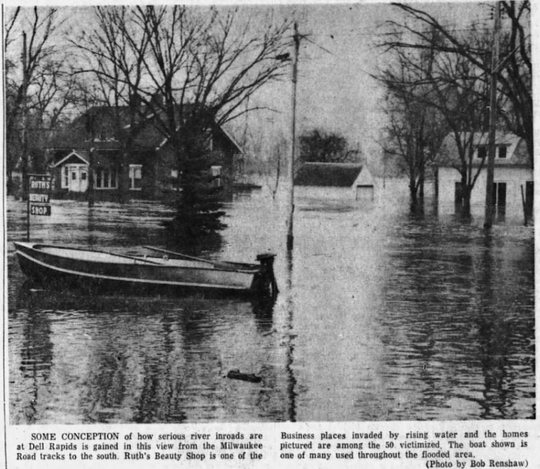 About 50 homes were evacuated in Dell Rapids on April 9, 1969 as the Big Sioux River leveled off at 16.3 feet. The entire town of North Sioux City, about 800 people, was ordered to evacuate as well.