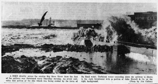 Water crashes over the spillway near John Morrell's on April 10, 1969. Flood waters threatened to erode dikes along the river. The Big Sioux crested at 19.73 feet at 7:30 p.m. that night and Minnehaha County was declared a disaster area.