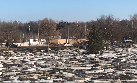 McHardy Park near the Ice Cats' hockey rink was littered with ice chunks following the heavy snow and rain on March 13, 2019.