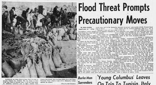 Sioux Transit started providing bus transportation for high school students released from class for a short time to fill sandbags starting April 3, 1969. High school students filled 70,000 sandbags on the two worst days of the flood. More than 140,000 sandbags were filled for the flood.