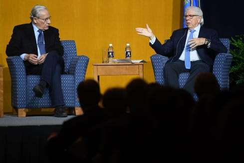 Pulitzer Prize-Winning Journalists Bob Woodward and Carl Bernstein speak at the 2019 Boe Forum Tuesday, March 19, at the Elmen Center at Augustana University.