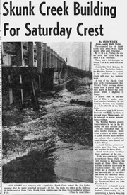 The flooding of Skunk Creek was the initial problem for officials in Sioux Falls on April 4, 1969. According to an article by the Argus Leader, Skunk Creek would usually crest about four days before the Big Sioux River.