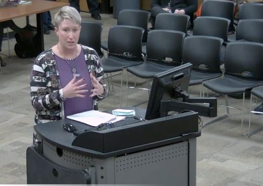 Melanie Donnell, a teacher and member of the Community Task Force on Facilities, spoke Feb. 5 to the Springfield school board.