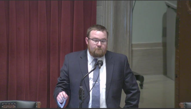 """Rep. Jered Taylor, R-Nixa, speaks on the House floor Wednesday, March 13, 2019. He was decrying the """"vile"""" attacks he's received over a bill he filed concerning public school teacher retirement options."""