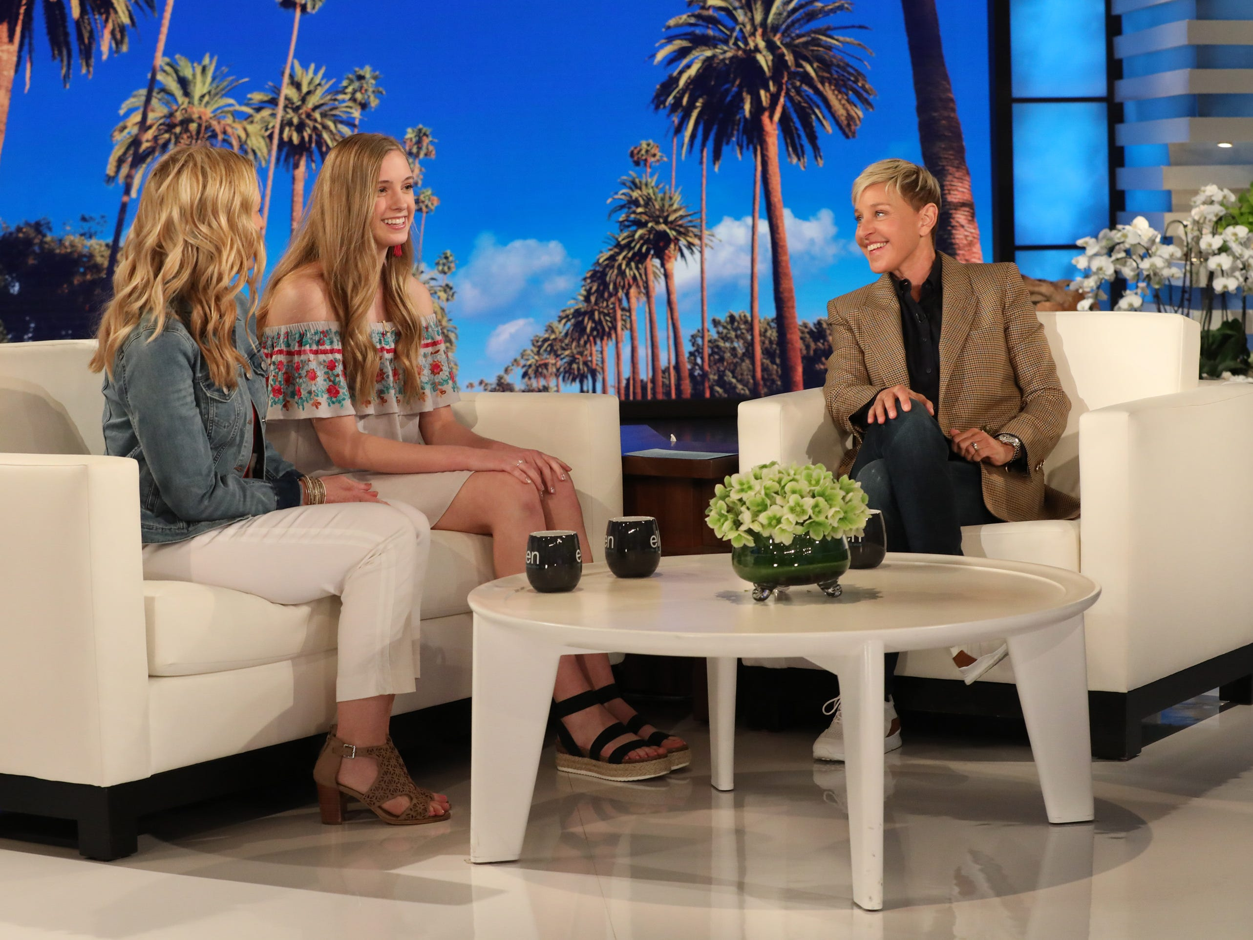 Ellen DeGeneres welcomes 16-year-old Emily and her mother Jennifer Aldridge, of Marshfield.