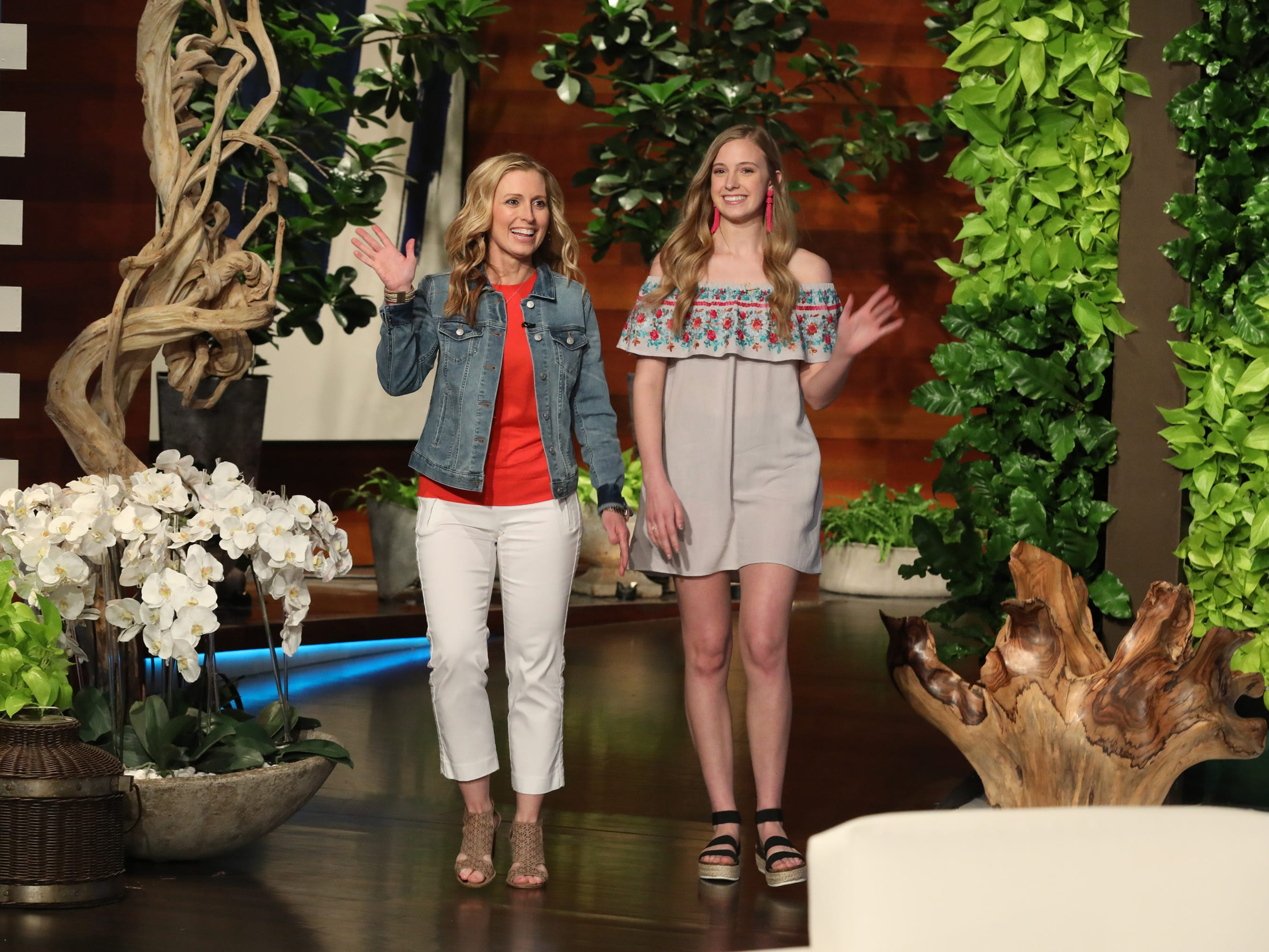 "Jennifer Aldridge and her daughter, Emily, behind the scenes photos are taken during a shoot for ""The Ellen DeGeneres Show"" in Los Angeles."