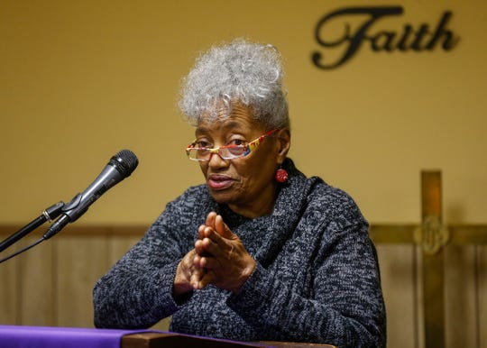 Patricia Reynolds talks about her experiences with payday loans during a press conference at Pitts Chapel United Methodist Church on Wednesday, March 20, 2019.