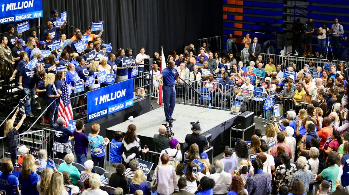 Andrew Gillum announces an effort to register a million voters and flip Florida blue Wednesday in Miami Gardens.