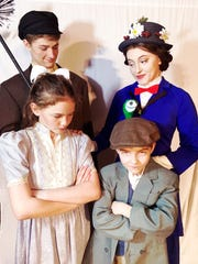 "Bert (Jaiden Briggs) and Mary Poppins (Naomi Lamarche) have a discussion with the Banks' children Jane (Lilliana Grey) and Michael (Finnegan Greisl) in ""Disney's Mary Poppins Jr."""