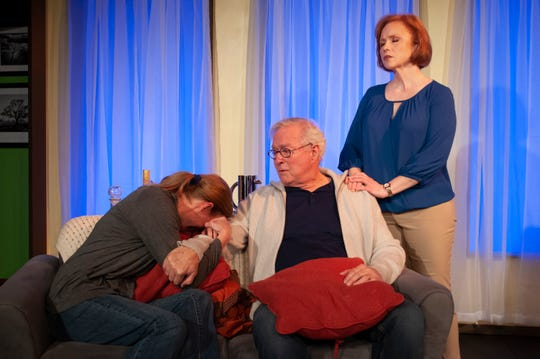 A strained moment in the Wyeth family (from left: Erika Stone, Michael Richey, and Dorothea Syleos).