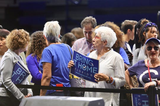 Andrew Gillum supporters awaiting his appearance at the Florida Memorial Universtiy Wellness Center Wednesday.