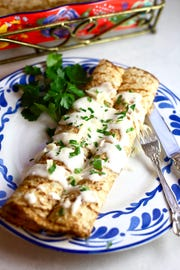 Chicken and Mushroom Crepes can be come together fast with premade crepes.