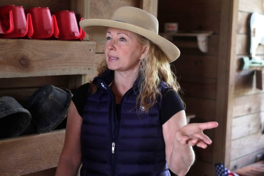 Teresa Leigh details how she works with her mustang Rune Nevada Tuesday, March 19, 2019. Leigh is working with Rune to become the Guinness Book of World Records Smartest Horse.