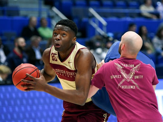 Mar 20, 2019; Hartford, CT, USA; Florida State Seminoles forward Mfiondu Kabengele (25) drives to the basket during practice before the first round of the 2019 NCAA Tournament at XL Center. Mandatory Credit: Robert Deutsch-USA TODAY Sports