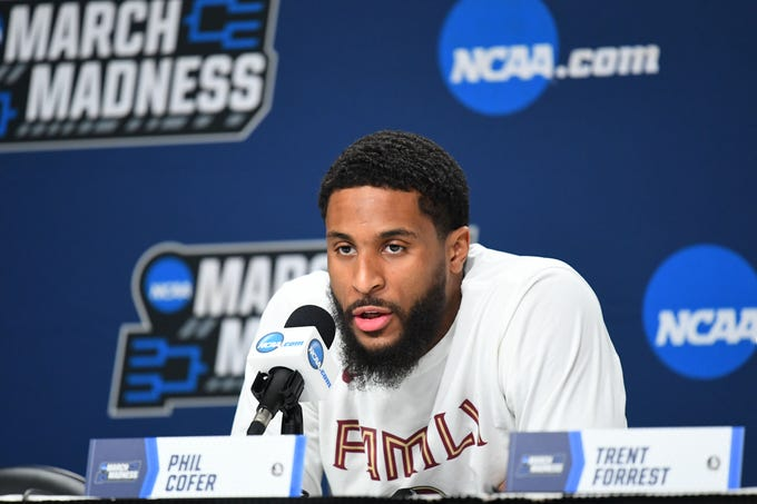 Mar 20, 2019; Hartford, CT, USA; Florida State Seminoles forward Phil Cofer (0) speaks with the media before a practice in the first round of the 2019 NCAA Tournament at XL Center. Mandatory Credit: Robert Deutsch-USA TODAY Sports