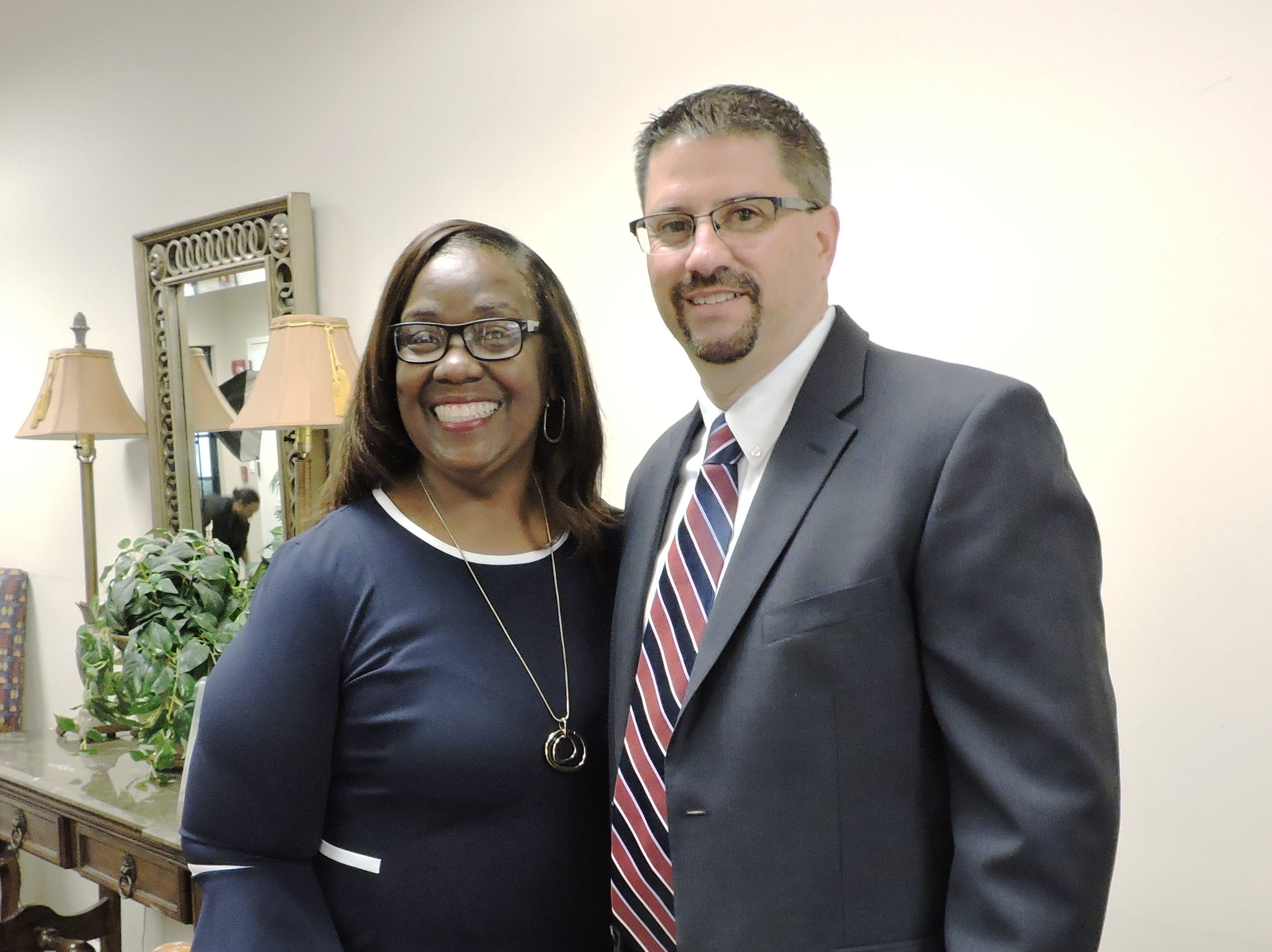 Thelma Washington, left, and Stuart City Manager David Dyess at the 2019 Freedom Fund Banquet.