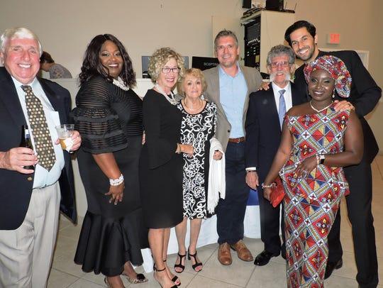 Bob Schneider, left, Brenda Matheny, Nancy King, Gayle Schneider, Clint Larkan, Lon King, Trailblazer Award winner Rev.Christian Anderson, and Anastasia Anderson at the 2019 Freedom Fund Banquet.