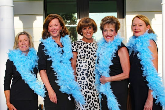 Karen Pierce, left, Kathy Leahey, Lynn Kentz, Eileen Farino and Andrea Thibodeaou at the John's Island Community Service League's annual gala on March 9.