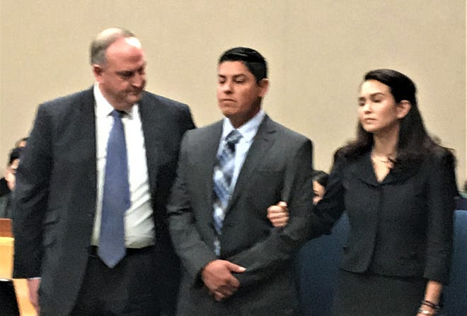 Leonel Hernandez shows no reaction as he was found guilty of murder Wednesday, March 20, 2019, in the death of Richard Madrigal in 168th District Court in El Paso.