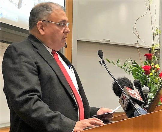Dr. Salvador Cruz-Flores, chairman of the Texas Tech University Health Sciences Center El Paso Neurology Department, talks about El Paso's neurologist shortage at a Wednesday ceremony to announce a $1.5 million endowment aimed at easing the shortage.