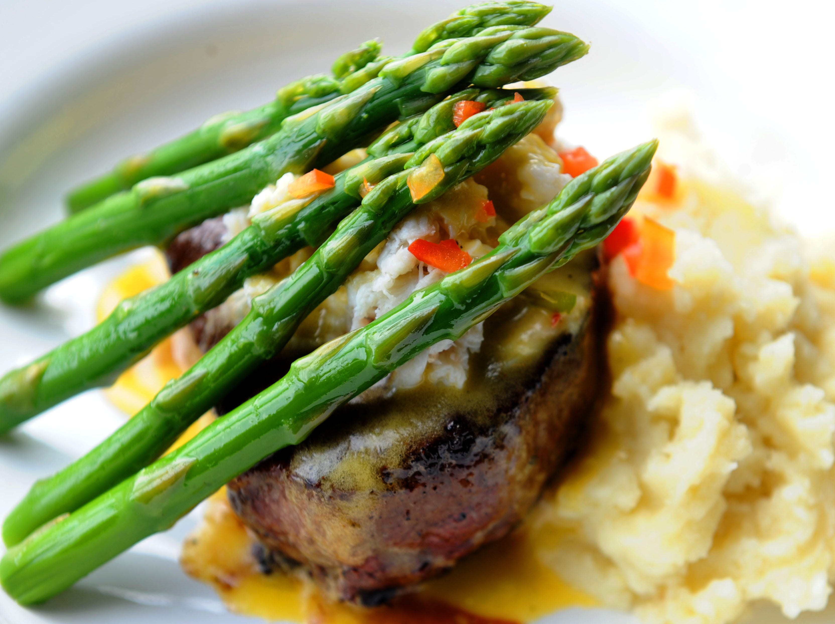 The Filet with Crab Meat and Asparagus is prepared at Salt Waterside Bistro in Oxnard.