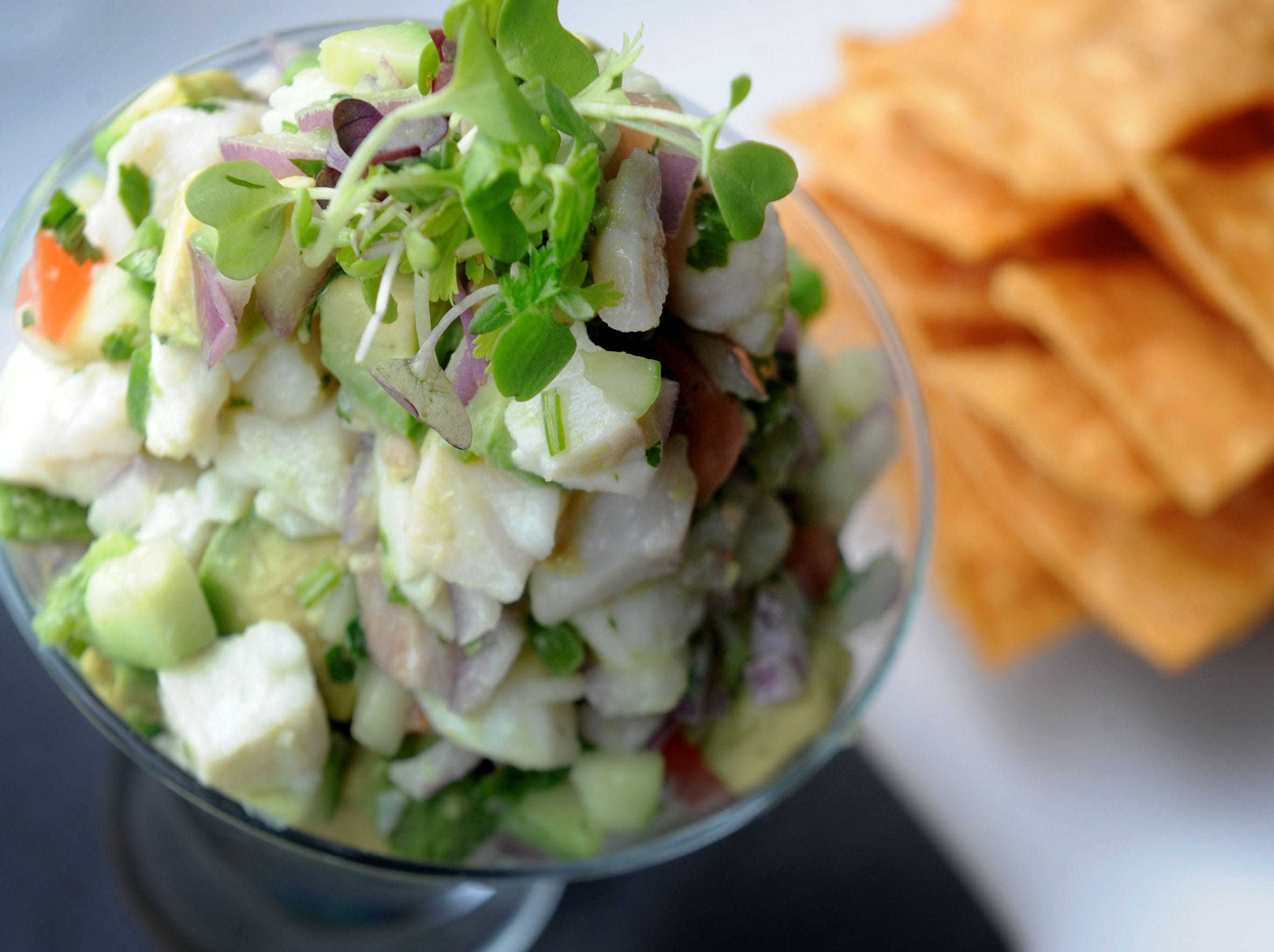 The cilantro and lime ceviche  is ready to be served at Salt Waterside Bistro in Oxnard.
