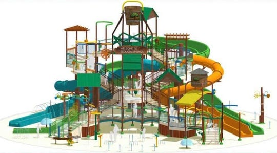 A rendering shows Visalia Adventure Park's Sequoia Springs water slide attraction.